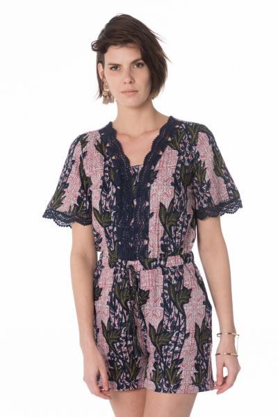 kurzer Damen Playsuit in rosa und blau
