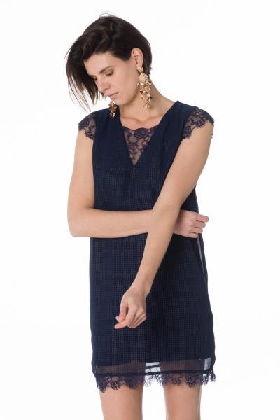 kurzes marineblaues Damen Kleid mit Spitze