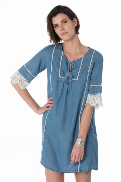 blaues Damen Kleid im Jeans-Look
