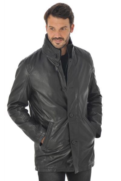 Manteau Homme Daytona en cuir d'agneau long Noir