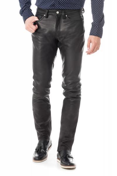 pantalon cuir de vachette homme               title=