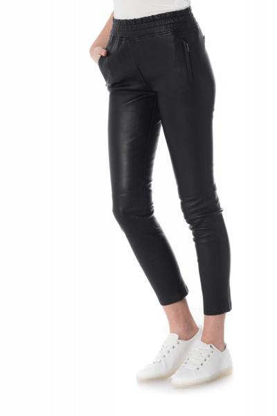 Pantalon en cuir femme Oakwood avec taille élastique              title=