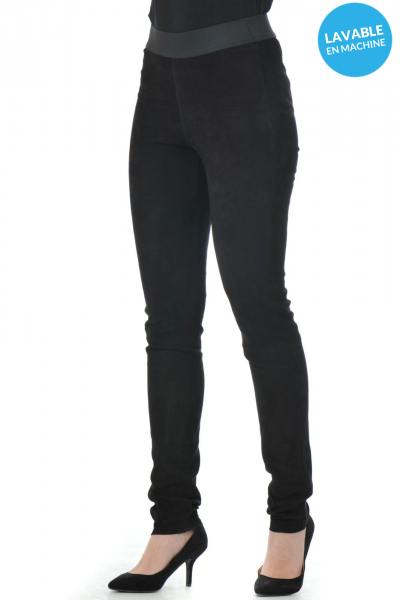 Lederleggings in Velours-Optik              title=