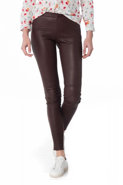 bordeauxrote Damen Lederleggings              title=