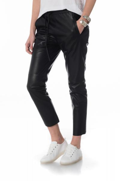schwarze Damen Lederhose mit Kordelzug