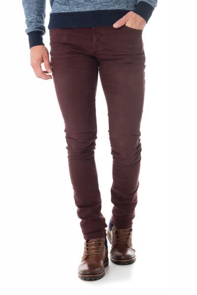 bordeauxrote Skinny-Jeans              title=