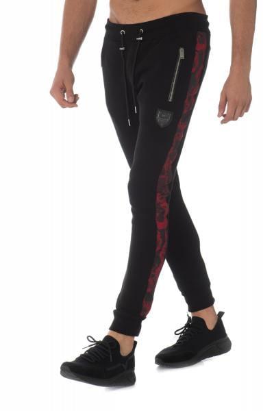 Pantalon de jogging noir avec bande contrastante rouge              title=