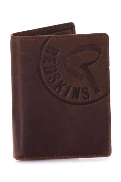 Élégant portefeuille marron en cuir de vachette              title=