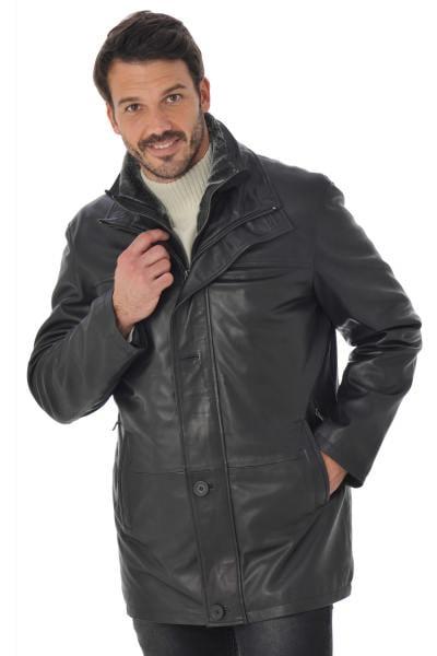 Manteau Homme Daytona col montant en cuir Noir              title=