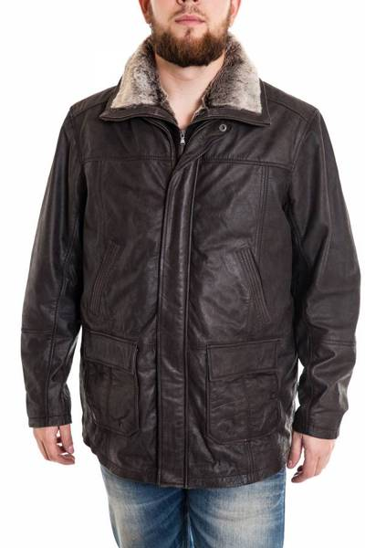 Surveste longue en cuir aspect vielli pour Homme Grande Taille Lucina noire vieillie