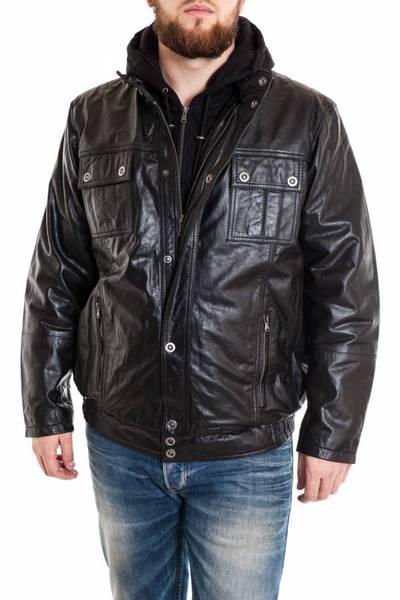 Blouson Lucina en cuir de buffle grande taille noir              title=
