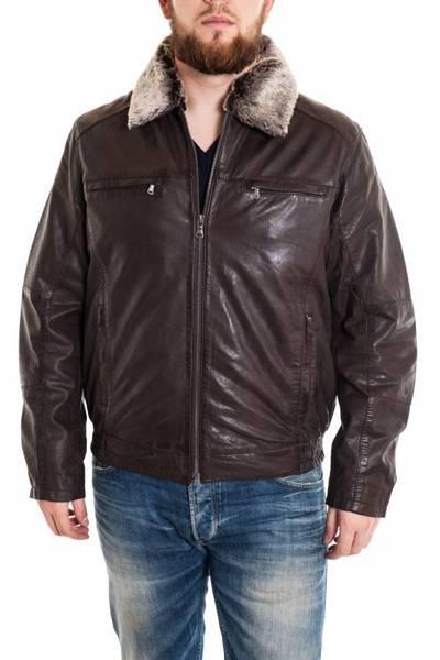 Blouson Homme Style aviateur en cuir d'agneau Marron foncé              title=