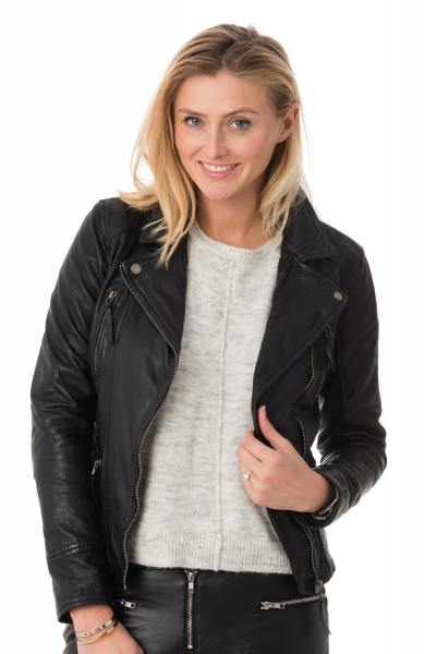 schwarze Damenlederjacke OAKWOOD              title=
