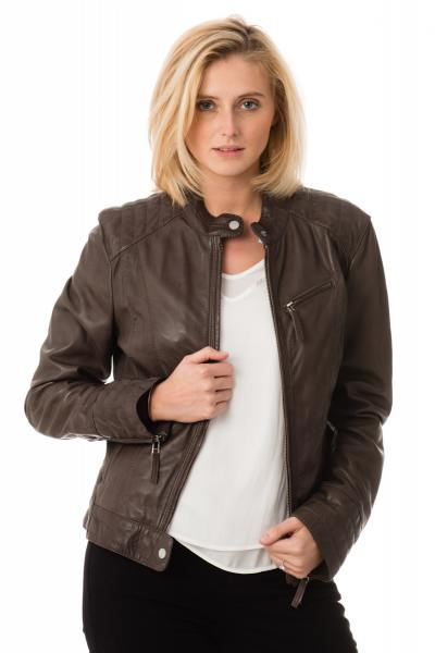Blouson Femme Oakwood en cuir de mouton Smoke              title=