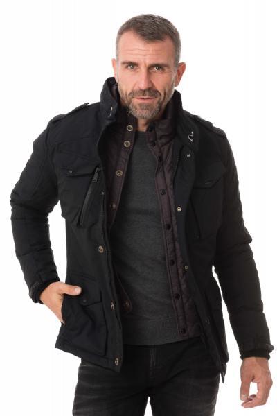 schwarzer Herren-Textilmantel SCHOTT ideal für den Winter               title=