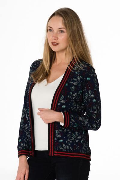 leichte marineblaue Damen Jacke mit floralen Muster              title=