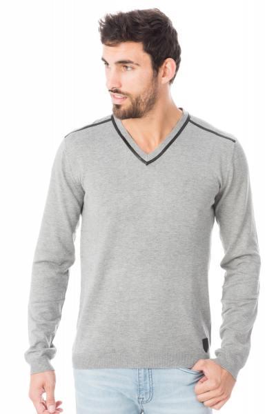graumelierter Herren-Pullover aus Viskose mit V-Kragen              title=