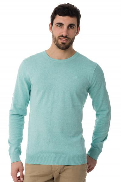 Pull turquoise effet chiné homme               title=