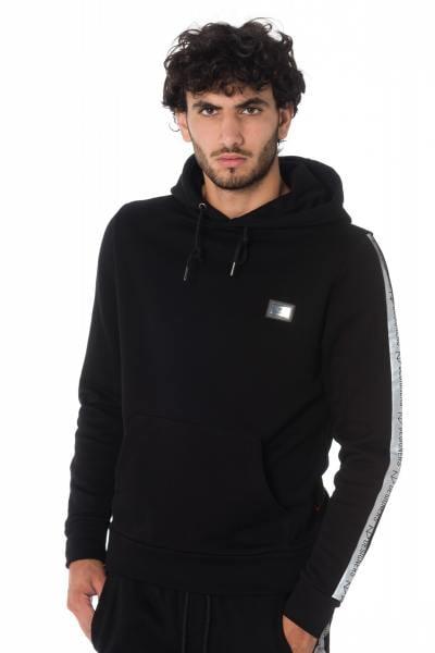 Schwarze Herren Sweatshirt Kapuzenjacke mit silbernen Streifen von The New Designers              title=