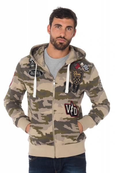 Sweat camouflage beige Von Dutch avec écussons              title=