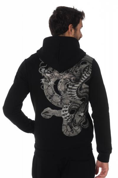 Horspist Kapuzen Sweatshirt mit Schlange aus Strasssteinen