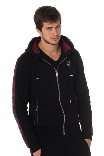 Rot-schwarzes Herren Reißverschluss-Sweatshirt