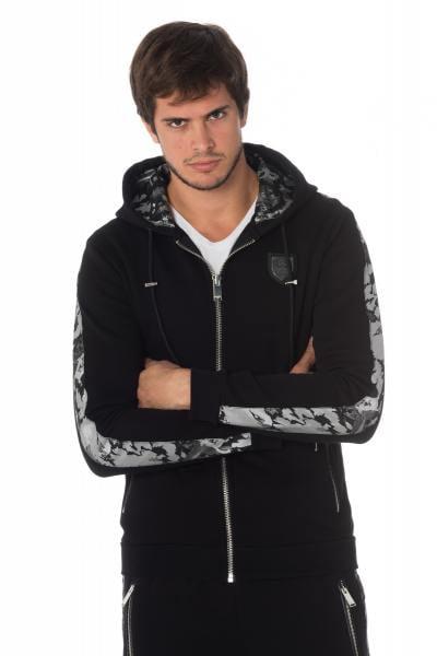 Schwarz-silbernes Herren Reißverschluss-Sweatshirt