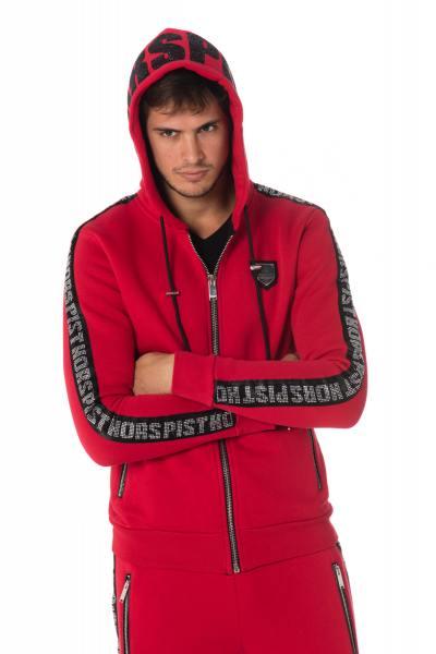 Roter Herren Sweatshirt-Zipper von Horspist mit Strass