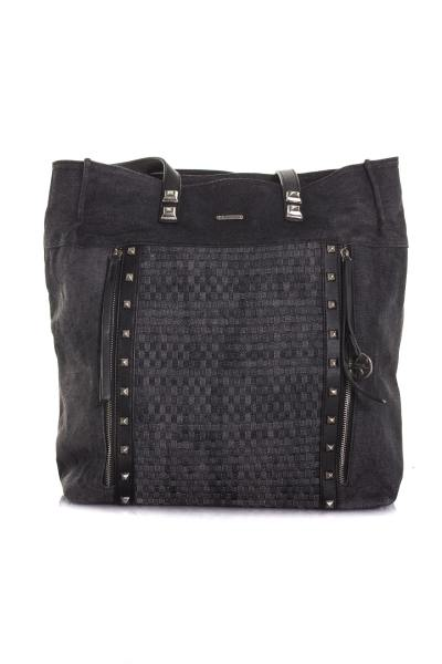 Sac shopping demme en denim avec clous              title=