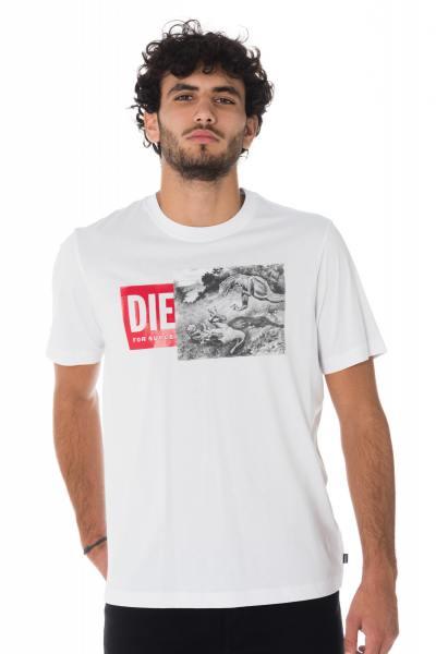 Weißes Diesel Herren T-Shirt mit Dinosaurier