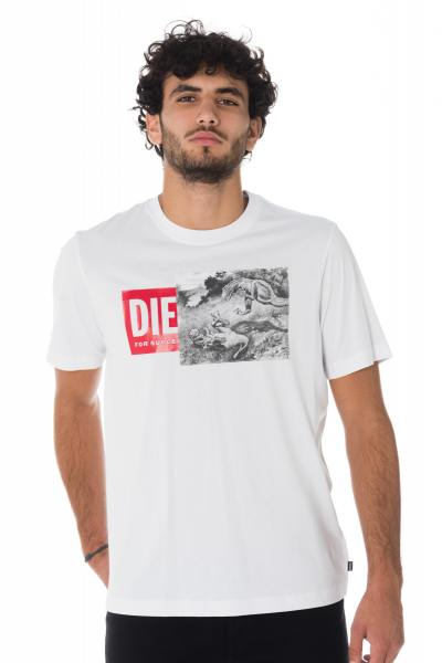 Tee-shirt blanc Diesel avec dinosaures              title=