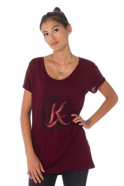 Bordeauxrotes Damen T-Shirt von Kaporal