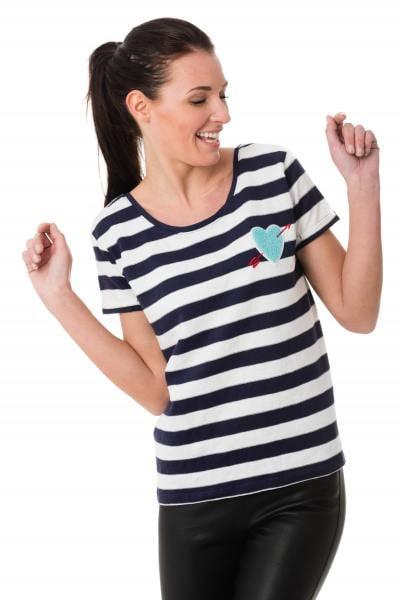 Damen-Ringelshirt in marineblau und weiß Kaporal