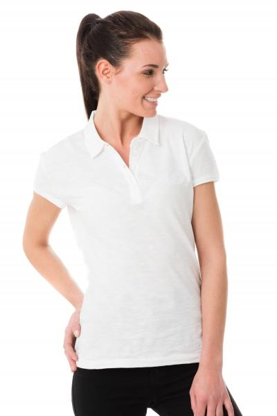 weißes Polo-Shirt mit offener Rückenstickerei Kaporal