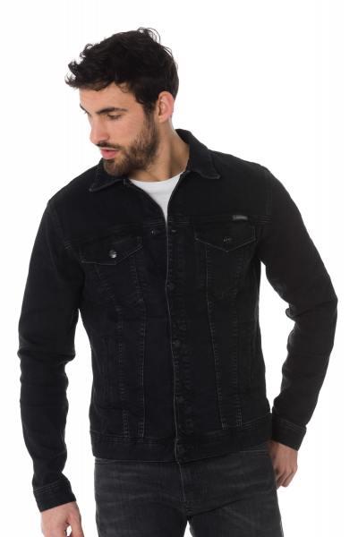 Veste en jean noir brut homme              title=
