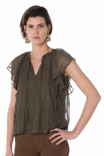 elegantes khakifarbenes Damen T-Shirt