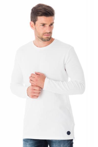 langärmeliges T-Shirt aus weißer Baumwolle              title=