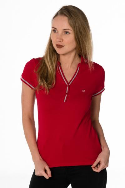 rotes enganliegendes Damen Polo-Shirt