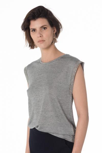 silbergraues ärmelloses Damen T-Shirt              title=