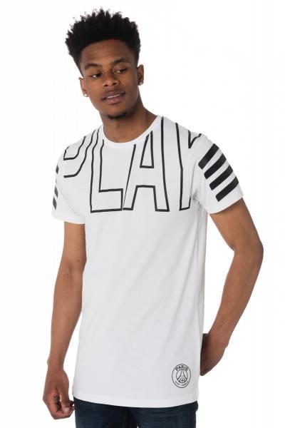 Tee-shirt blanc et noir PSG              title=