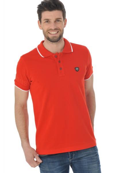 Rotes Redskins-Poloshirt mit weißer Paspelierung