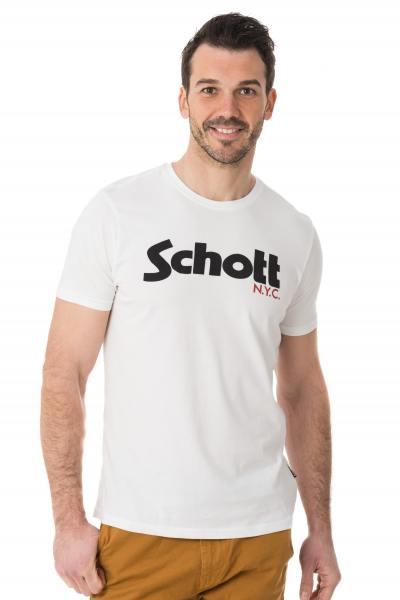 weißes T-Shirt mit Print Schott NYC