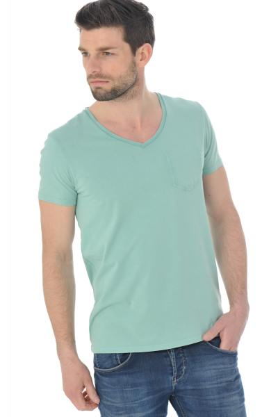 Tee-shirt col V Scotch and Soda coloris vert               title=