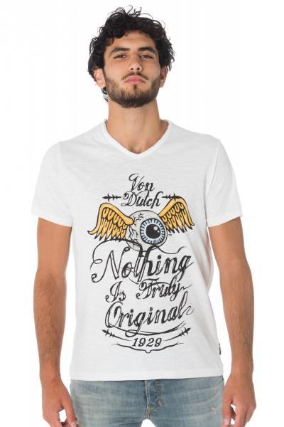 Tee-shirt Von Dutch blanc avec l'oeil ailé              title=