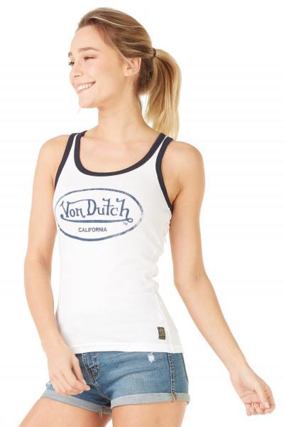 weißes Damen Tank-Top mit Von Dutch Logo