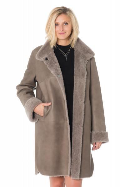 Manteau femme en mouton retourné taupe              title=