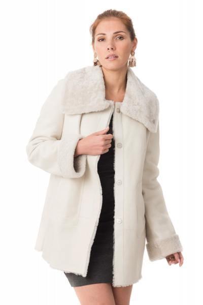 Manteau en agneau retourné coloris blanc              title=