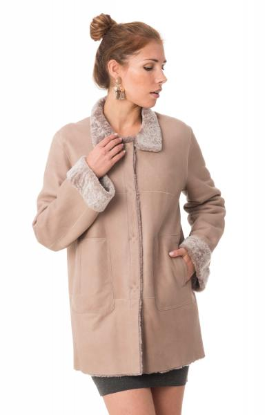 Manteau en mouton retourné rose              title=