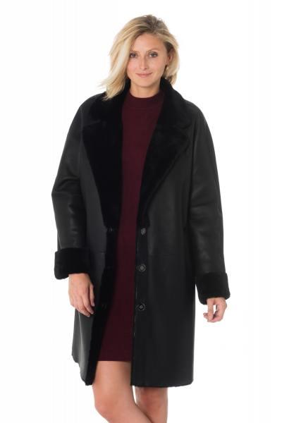 Manteau femme en mouton retourné              title=