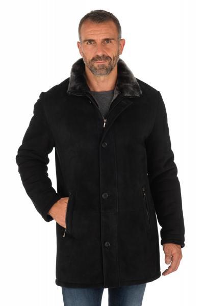 Manteau en mouton retourné noir avec intérieur gris              title=